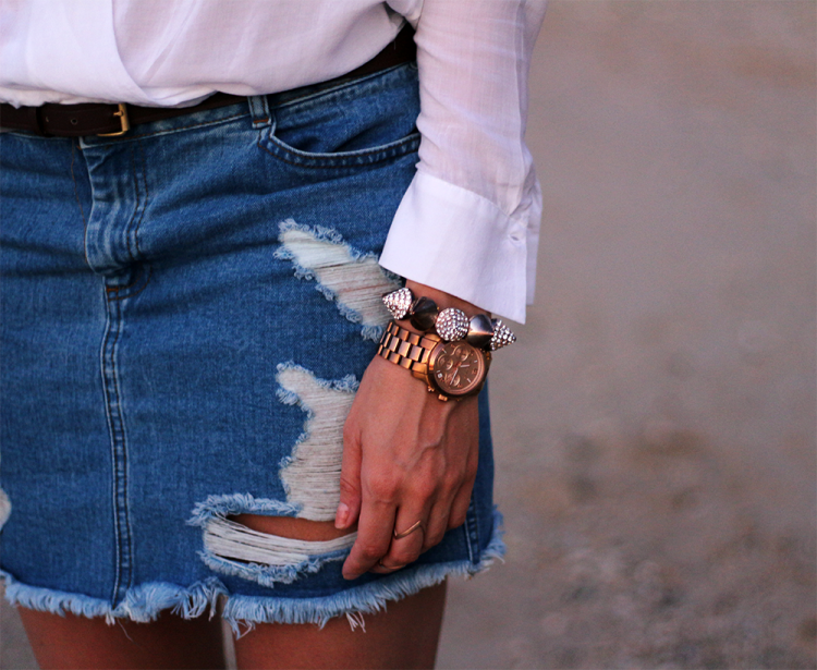 ripped denim nederdel