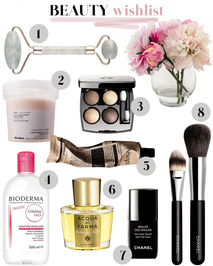 beauty wishlist beauty makeup mode fashion chanel bioderma acqua di parma davines facial roller jade