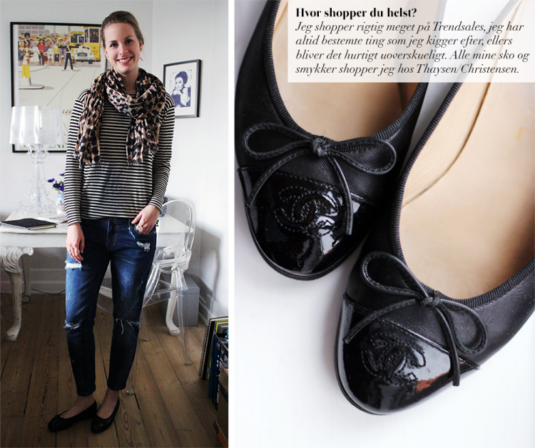 chanel ballerinas sko espadrilles sneakers stribet bluse sømandstrøje ripped jeans asos leopard scarf fashion blog blogger modeblog outfit ootd styling copy