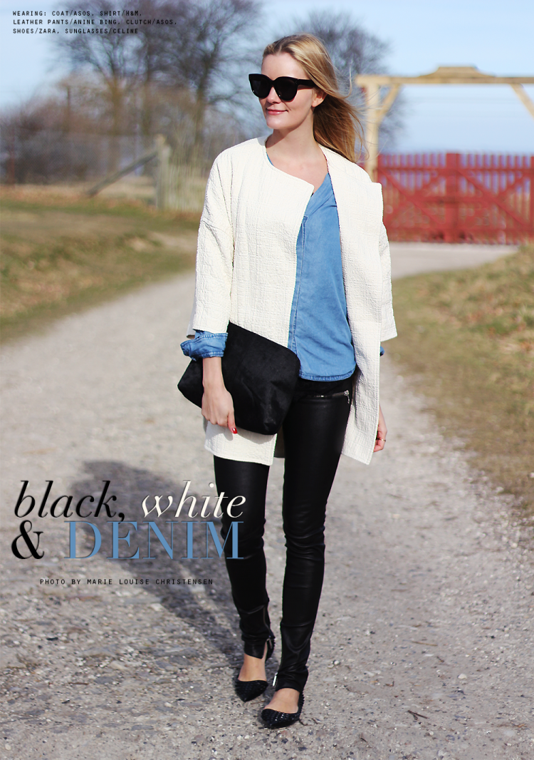 denim shirt læderbukser anine bing forårsjakke sommer celine solbriller audrey zara nitter outfit ootd modeblogger fashion blog