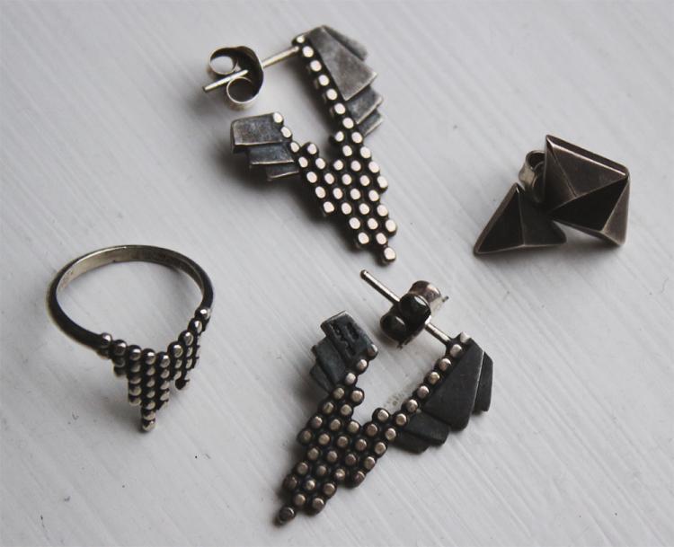 maria black oxiderede øreringe smykker sølv oxidized silver