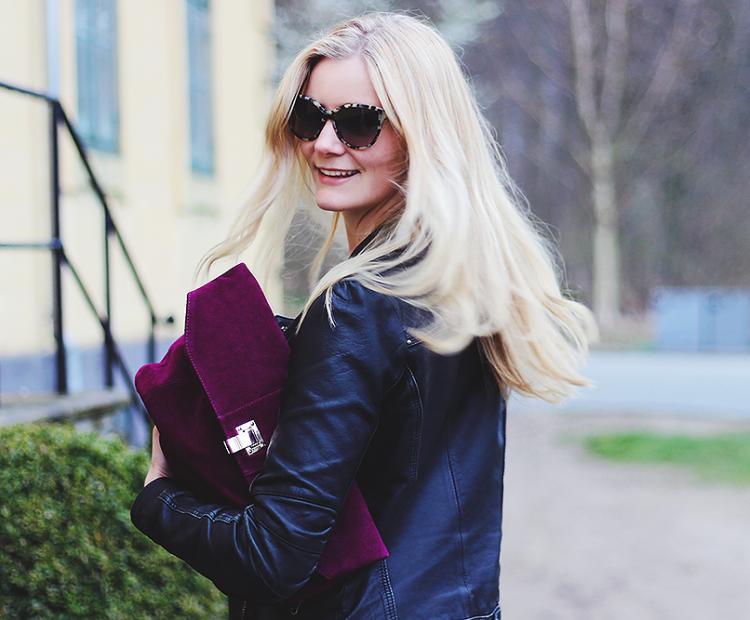 smile blonde asos læderjakke