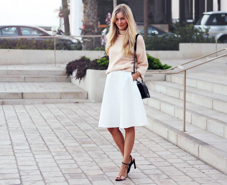hvid nederdel zara