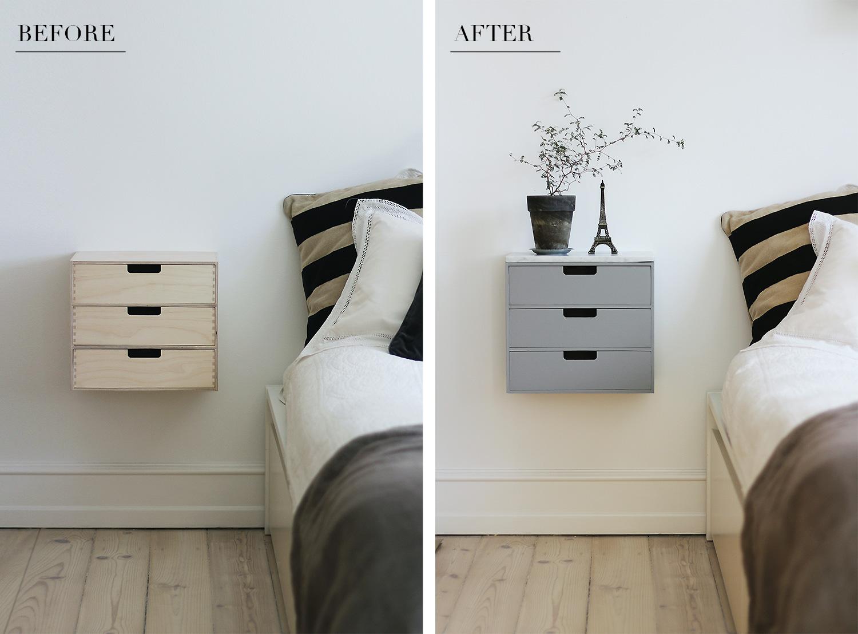 væghængt natbord DIY bedside table   Christina Dueholm væghængt natbord