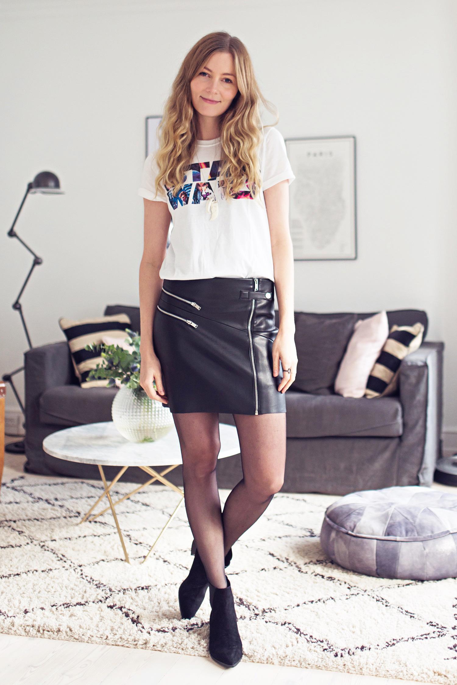 læder-nederdel