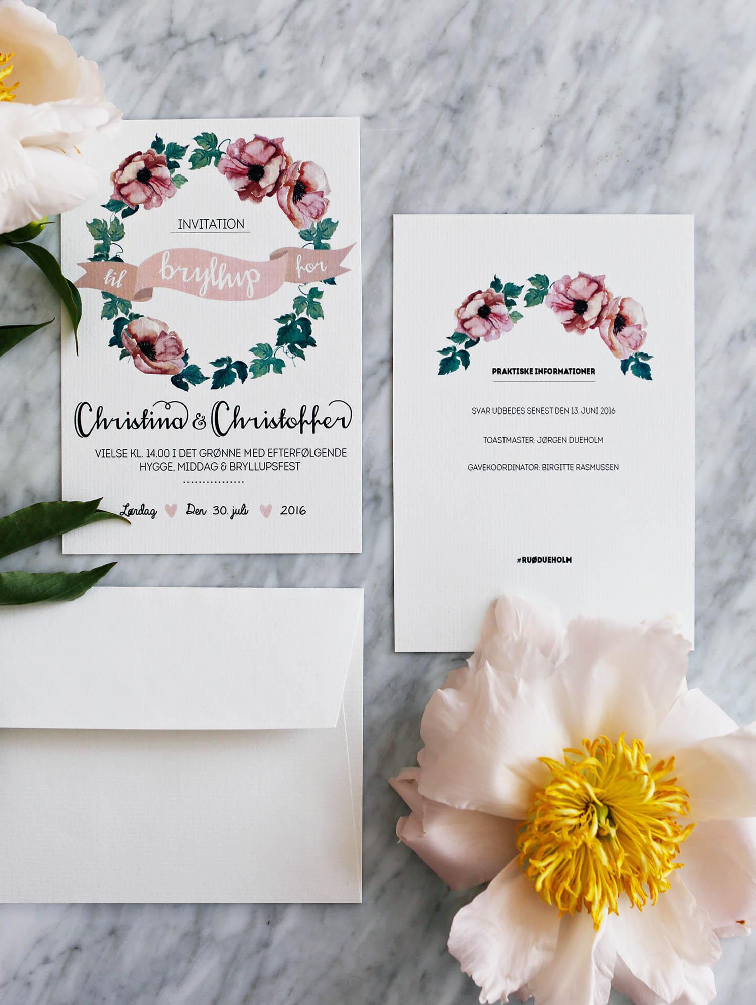 bryllups-invitation-hjemmelavet