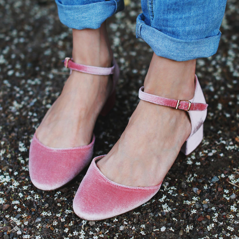 velour-sko-lyserød