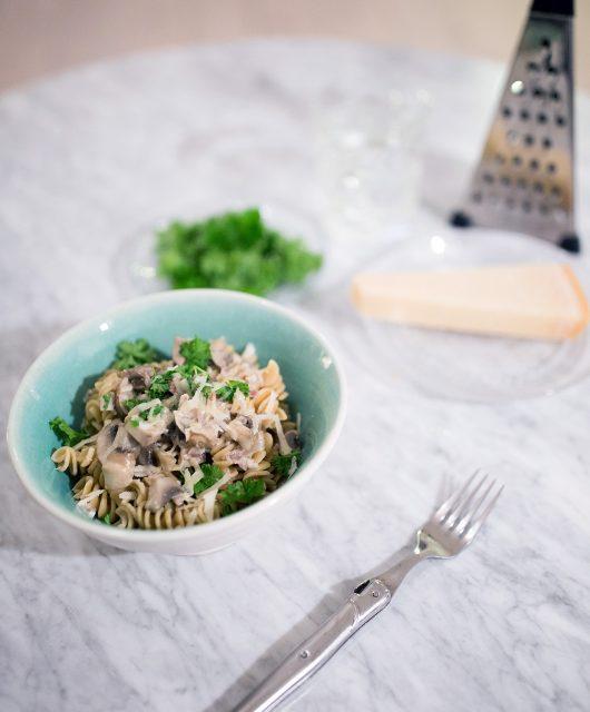 pasta, pastaret, flødesauce, creamy pasta, nem aftensmad