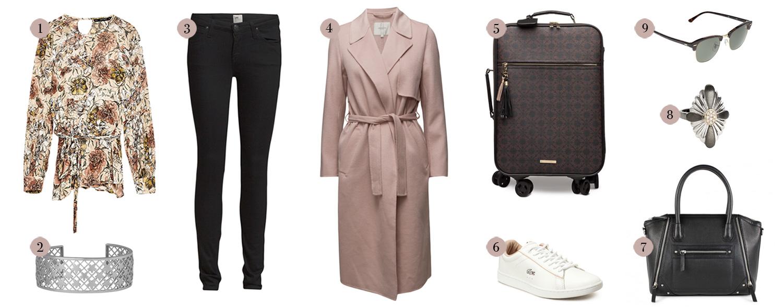 boozt, trench coat, forårsjakke, skinny jeans, rejsekuffert