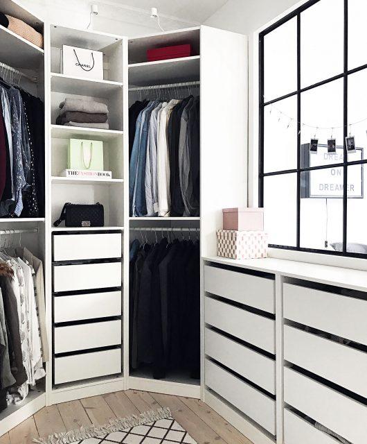 walk-in-closet, walk in closet, garderobe, wardrobe, tøj, skabe, ikea pax