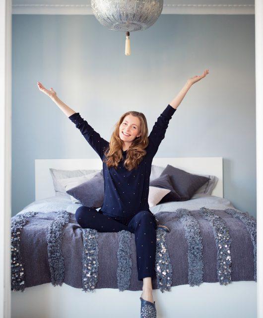 soveværelse, vægmaling, sengeramme, ikea malm, sengetæppe